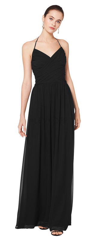 7076 -  Chiffon V-neck gown with self spaghetti halter tie. Criss cross ruching accents the bodice. Soft gathers surround the A-line skirt.    Available in 43 colors