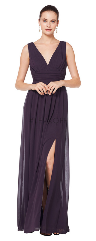 7082 -  Chiffon sleeveless V-front and back gown. Ruched cummerbund at the natural waist. Soft gathers surround the A-line skirt wuth off center slit.      Available in 43 colors