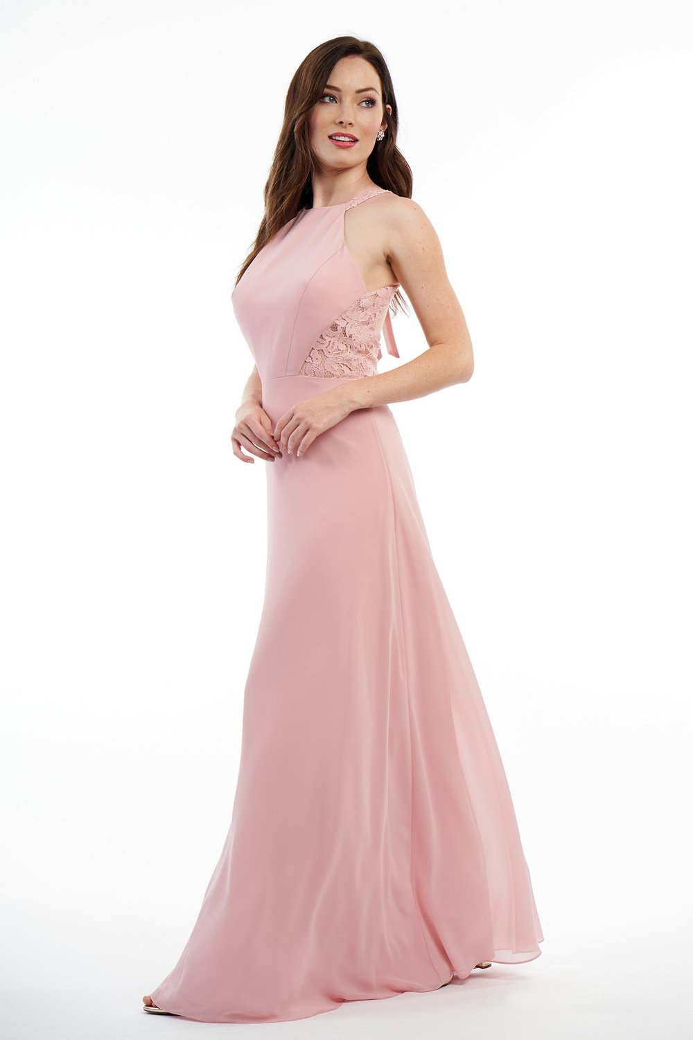 P2106011 -  Pretty charlotte chiffon and lace floor length bridesmaid dress with a jewel neckline and open back. Lace detail on the sides of the bodice and a bow on the top of the open back to complete the look.      Available in 18 colors