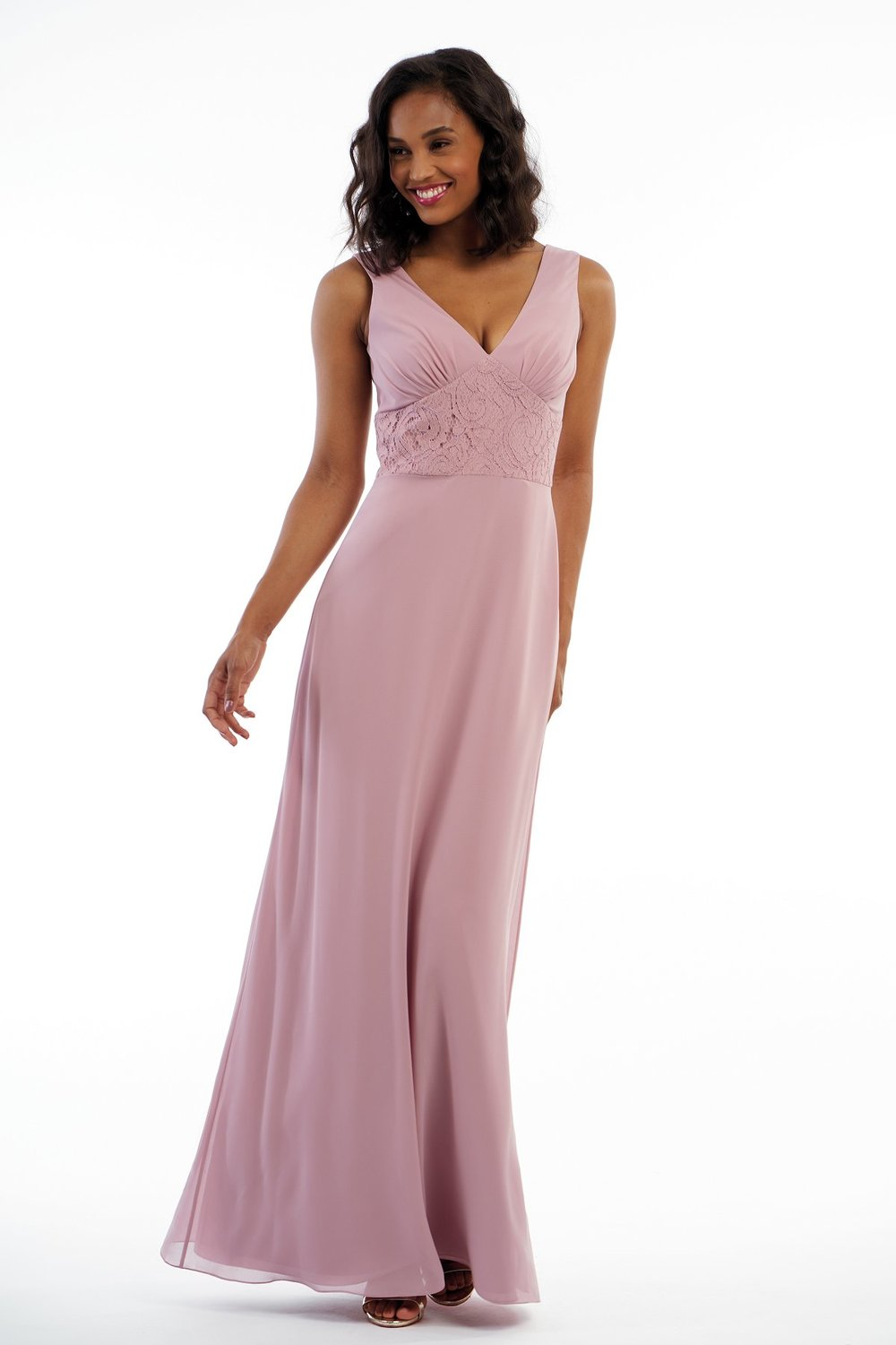 P216012 -  Simple charlotte chiffon and lace floor length bridesmaid dress with a flattering V-neckline and V back. Detailed gathers on the bodice and a flowy skirt to complete the look.    Available in 18 colors