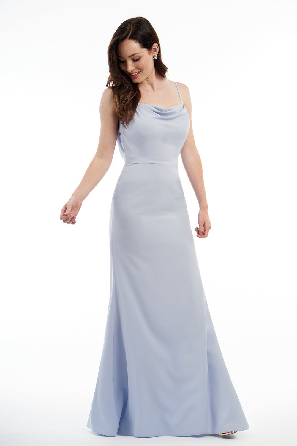 P216013 -  Beautiful soft crepe floor length bridesmaid dress with a cowl neckline and spaghetti straps. Layered fabric on the back bodice that create a U shape and a flattering silhouette to complete the look.      Available in 12 colors