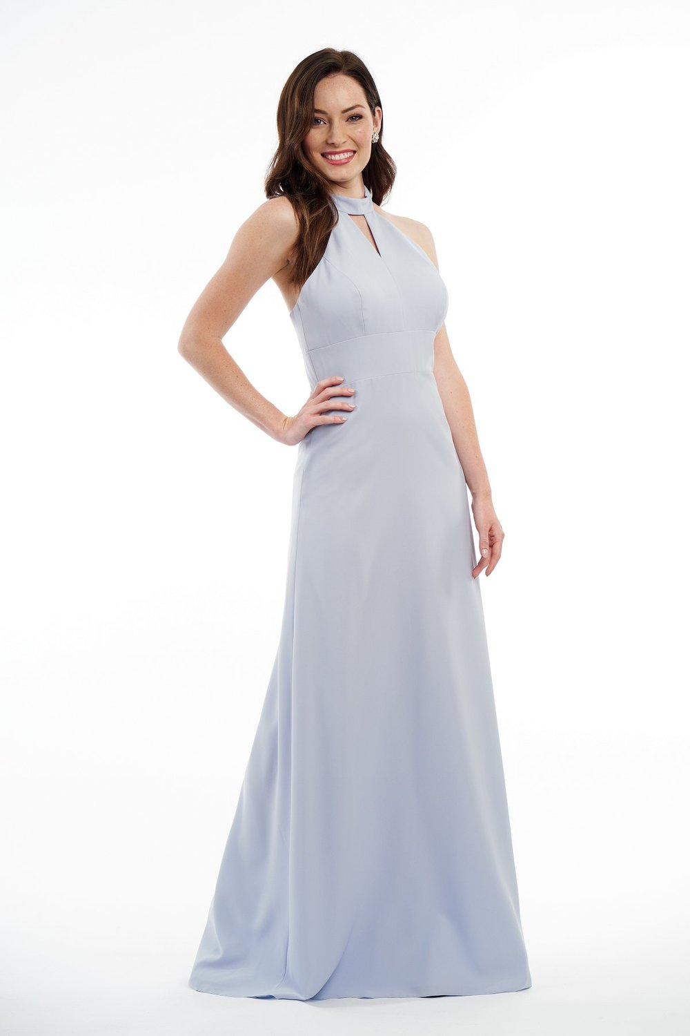 P216015 -  Pretty soft crepe floor length bridesmaid dress with a keyhole high neckline and A-line skirt to complete the simple look.    Available in 12 colors