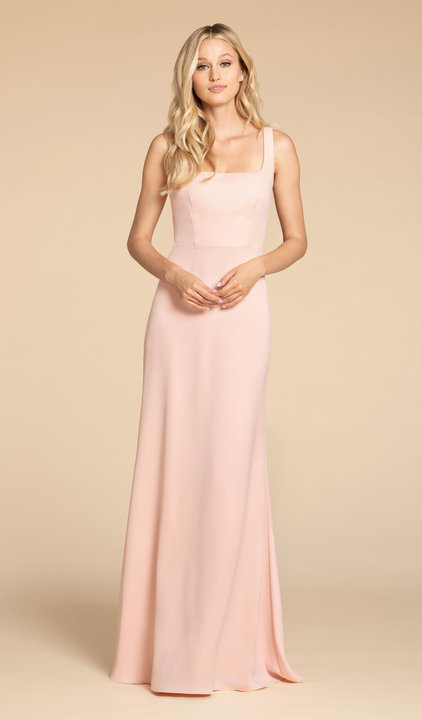 5904 -  Hayley Paige Occasions bridesmaids gown - Frosé crepe A-line gown, square neckline, natural waist, tie detail at back.    Available in 7 colors