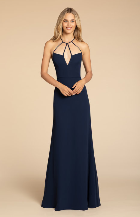 5911 -  Hayley Paige Occasions bridesmaids gown - Indigo chiffon A-line gown, strap detail at neckline with V- notch, natural waist.      Available in 22 colors