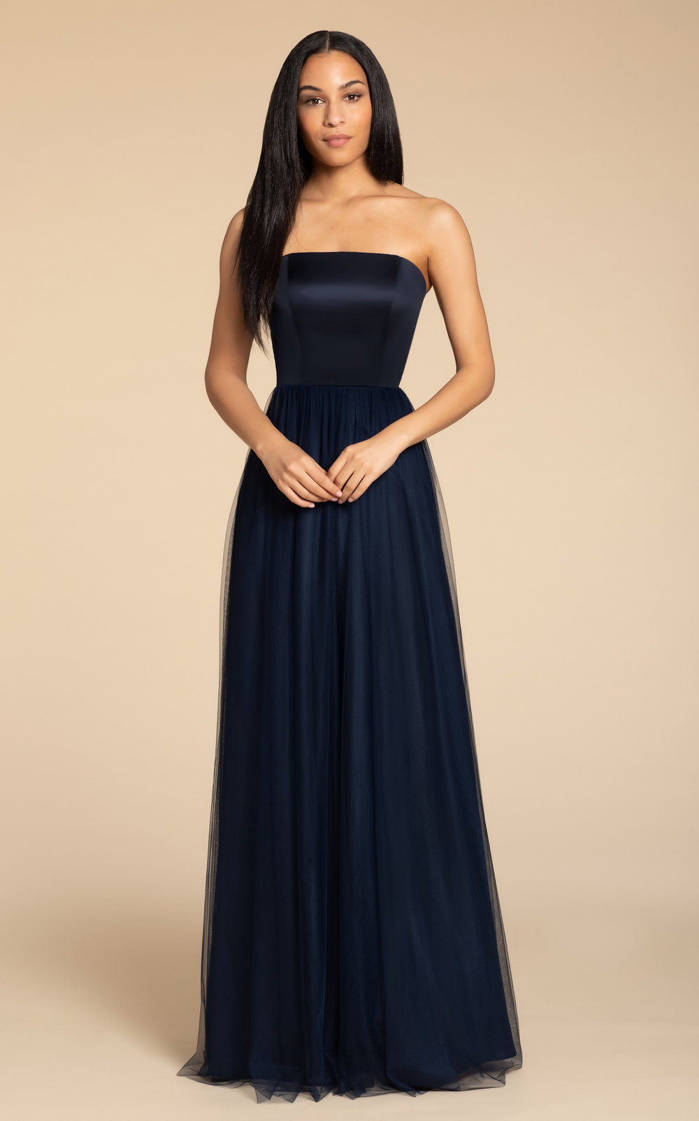 5916 -  Hayley Paige Occasions bridesmaids gown - Indigo English net A-line gown, satin strapless bodice, natural waist, open strap detail at back.    Available in 6 colors