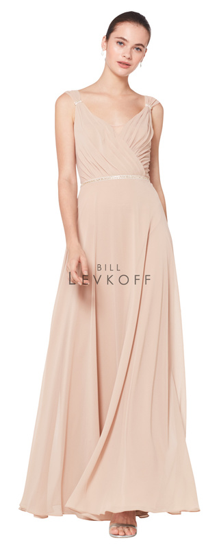 1600 -  Chiffon sleeveless surplice gown with wide front and back V. Clear rhinestones and beading adorn the shoulder clasps and the band at the natural waist. A-line skirt.    Available in 42 colors