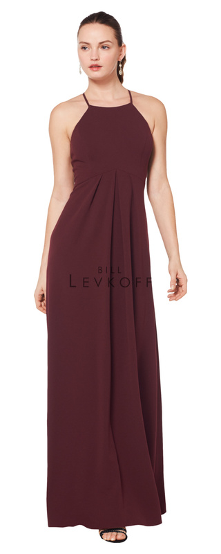 1617 -  Stretch Crepe spaghetti strap gown with a keyhole back. Empire waist with soft front gathers.    Available in 10 colors