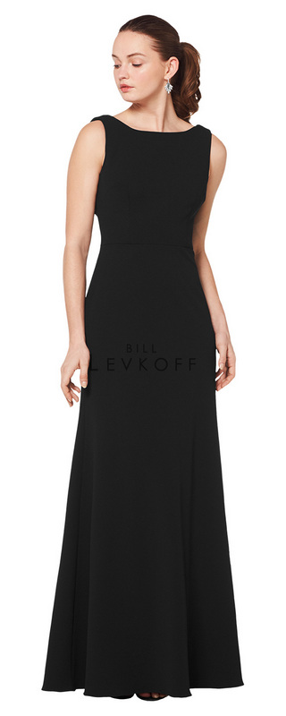 1618 -  Stretch Crepe sleeveless gown with a bateau neckline and a soft draped back. A-line skirt.      Available in 10 colors