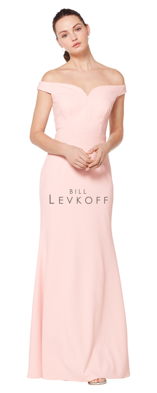 1621 -  Stretch Crepe off-the-shoulder portrait neckline gown. Soft mermaid style skirt.    Available in 10 colors