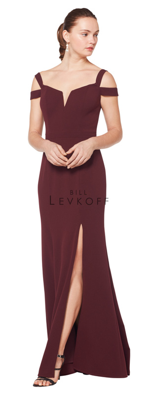 1625 -  Stretch Crepe double off the shoulder straps. Cut away neckline. Off-center front slit.  Available in 10 colors