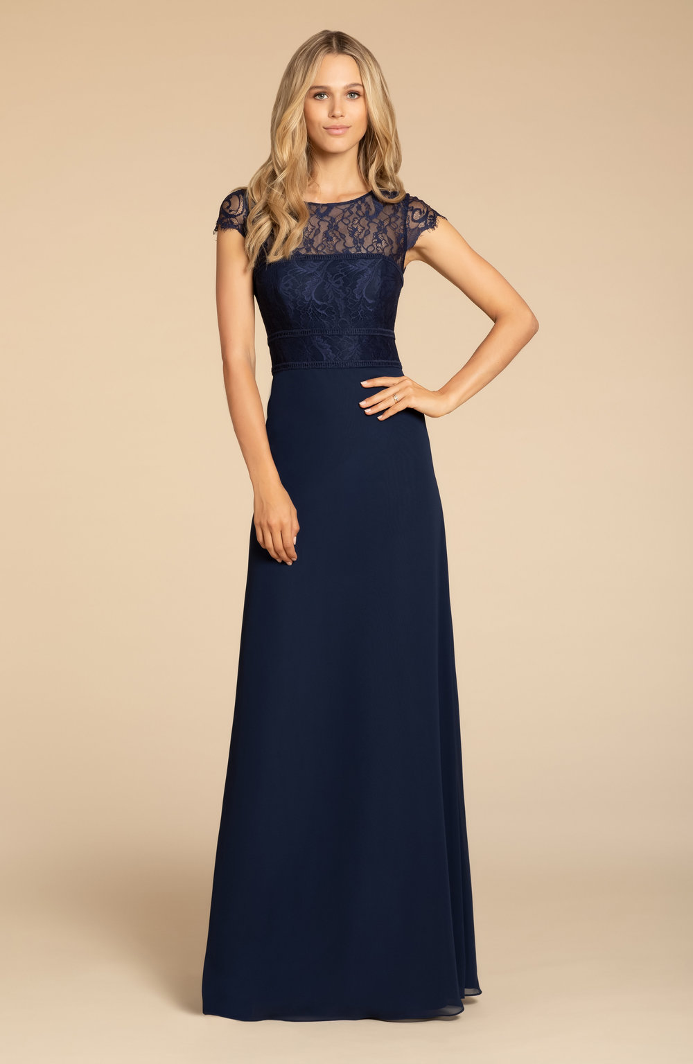 5917 -  Hayley Paige Occasions bridesmaids gown - Indigo chiffon A-line gown, Navy lace bodice with ladder trim detail, cap sleeve, natural waist    Available in 22 colors