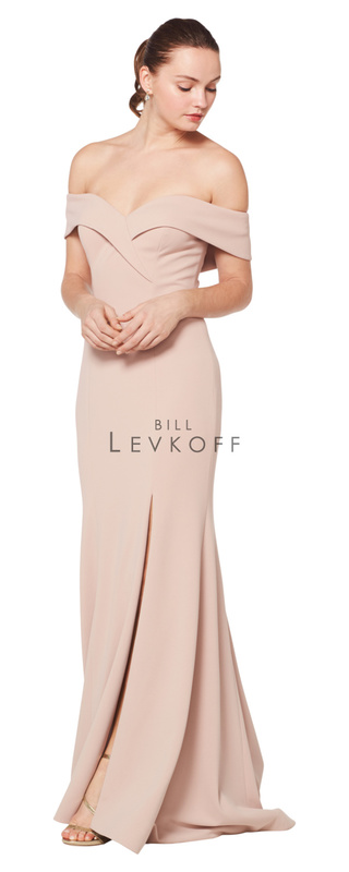 1623 -  Stretch Crepe off the shoulder fold-over portrait neckline gown. Off-center front slit. Slight back train.    Available in 10 colors