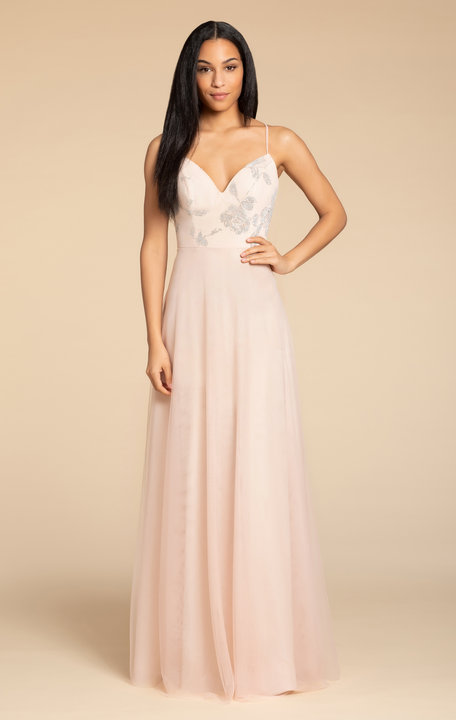 5903 -  Hayley Paige Occasions bridesmaids gown - Almond English net A-line gown, caviar bodice, V-neckline, natural waist, tie detail at back.      Available in 4 colors