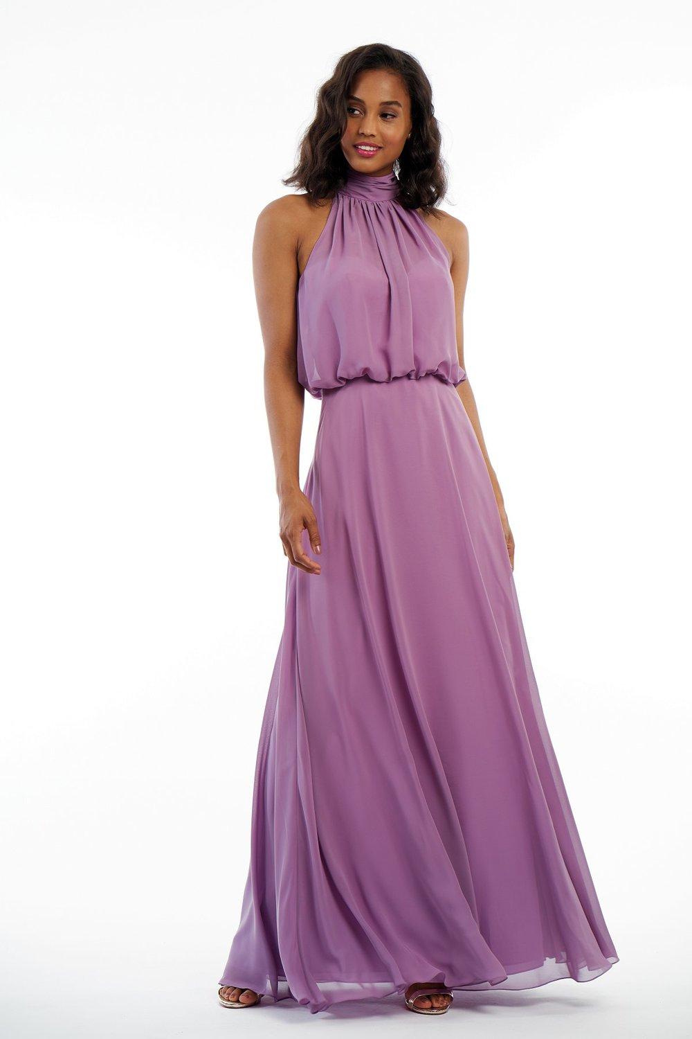 P216008 -  Beautiful charlotte chiffon floor length bridesmaid dress with a gorgeous high neckline, detailed gathers on the bodice, and a flowy skirt to complete the look.    Available in 41 colors