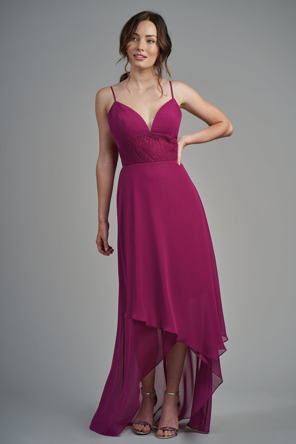 B213008 -  Beautiful poly chiffon and lace high-low bridesmaid dress with a flattering V-neckline and spaghetti straps. Beautiful lace on the bodice to complete the flowy bridesmaid look    Available in 22 colors