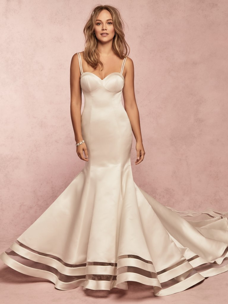 Jamilia -  This Carlo Satin wedding dress features a unique horsehair illusion cutout along the hemline. Complete with strapless sweetheart neckline. Finished with covered buttons over zipper closure. Illusion horsehair and satin spaghetti straps included with this style.    Available in: Diamond White, Ivory, Alabaster