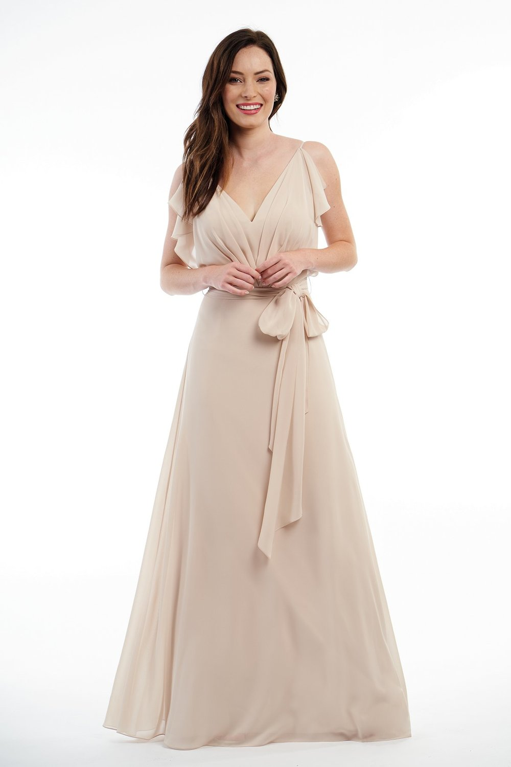 P216005 -  Beautiful charlotte chiffon floor length bridesmaid dress with a flattering V-neckline and ruffle details on the sides of the bodice. Detailed gathers on the bodice and a belt that wraps around to create a pretty bow around the waist.      Available in 41 color