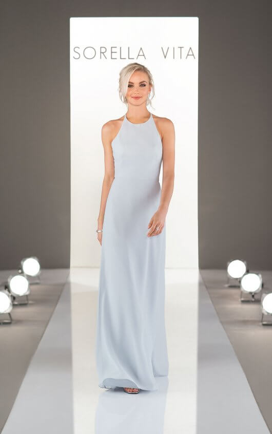 9234 -  Modern minimalists, rejoice! The simple and clean lines of the high-halter neckline and easygoing sheath bridesmaid dress will not only flatter every 'maid—but will fit right in with any theme, ceremony or venue. With over 30 from which to choose in our chiffon fabric, the possibilities truly are endless when it comes to creating your unique bridal party look!    Avail able in 33 colors