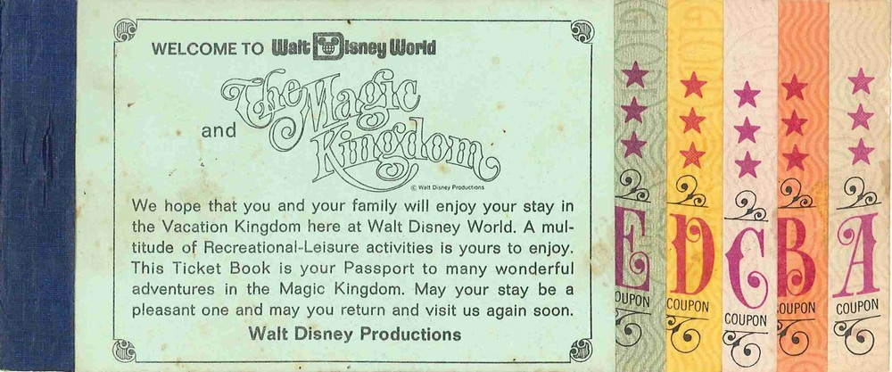 A vintage ticket book for Walt Disney World.