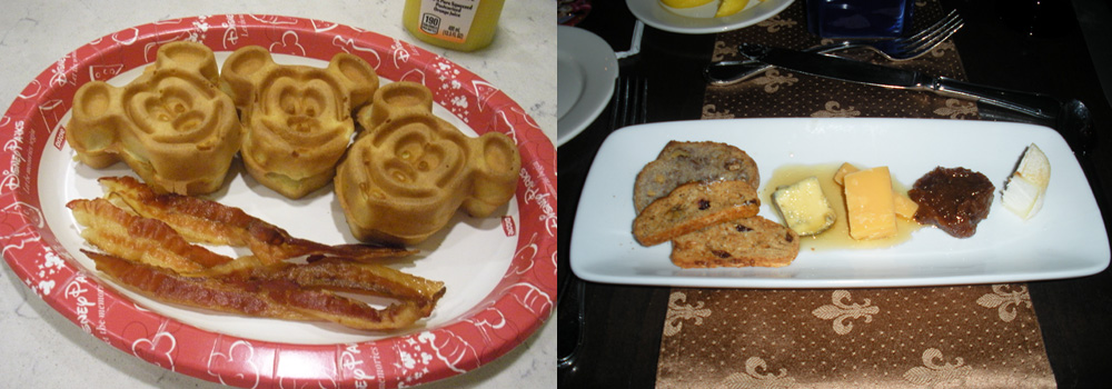 A PAST BUDGET TRIP: quick serve Mickey waffle platter A PAST SPLURGE TRIP: royal cheese platter at Cinderella's castle
