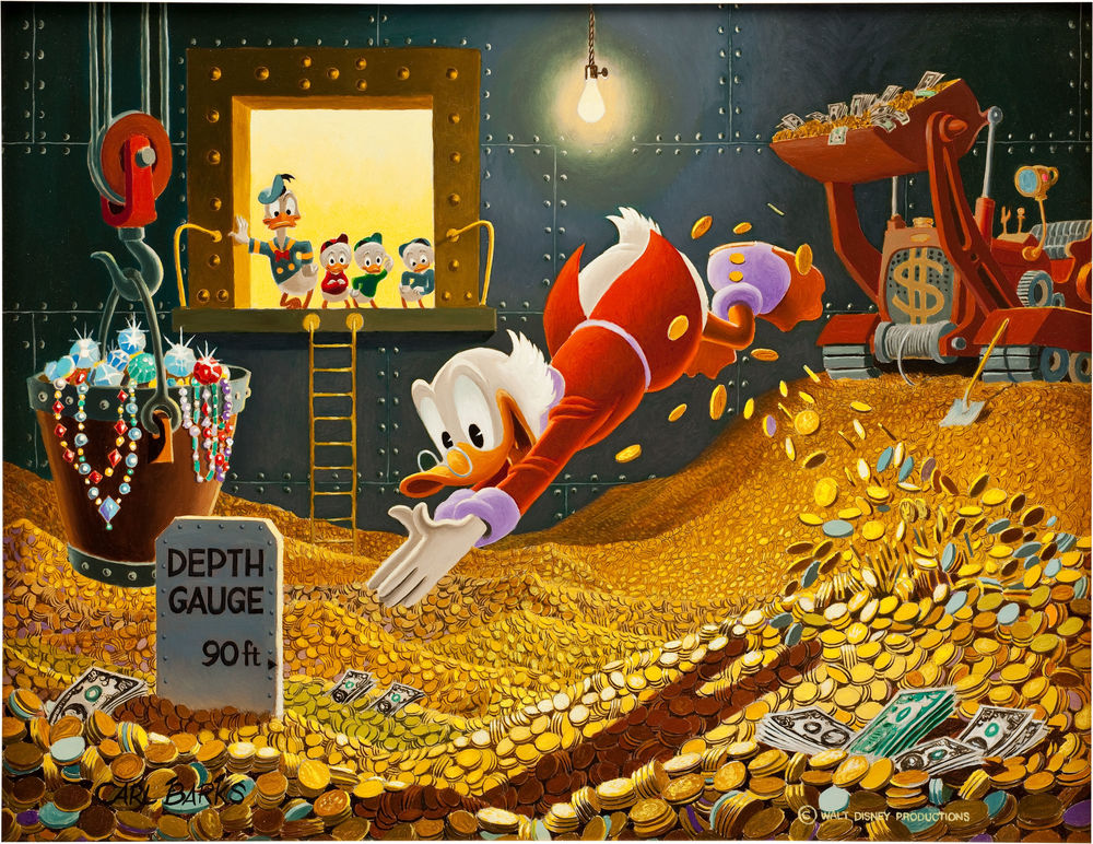 Is this really the only person who can afford to visit Disney? ©  Carl Barks The Sport of Tycoons Painting Original Art (1974)
