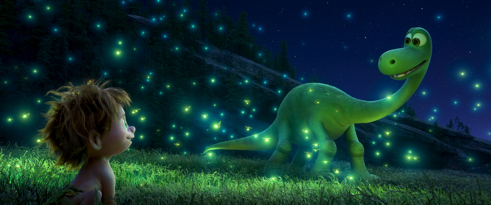 Arlo the dinosaur shares the magic of lightning bugs with Spot.