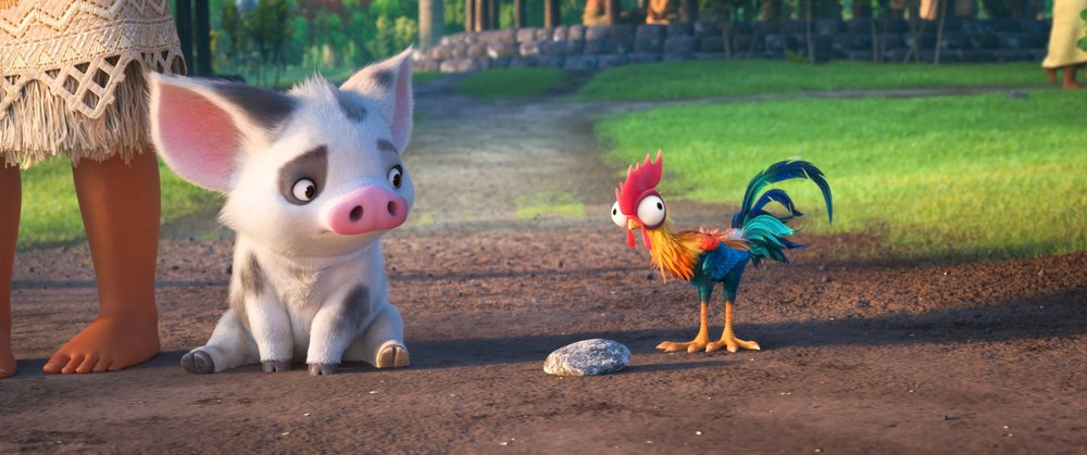 What movie is complete without animal sidekicks? Meet Pua the pig and Hei Hei the chicken.