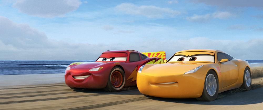 Lightning McQueen training with newcomer Cruz Ramirez