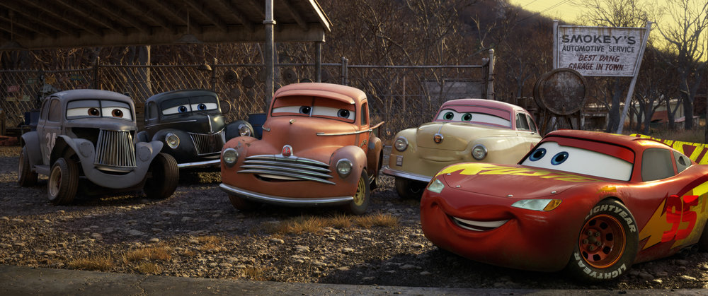 Lightning McQueen meeting some of Doc's classic racing friends
