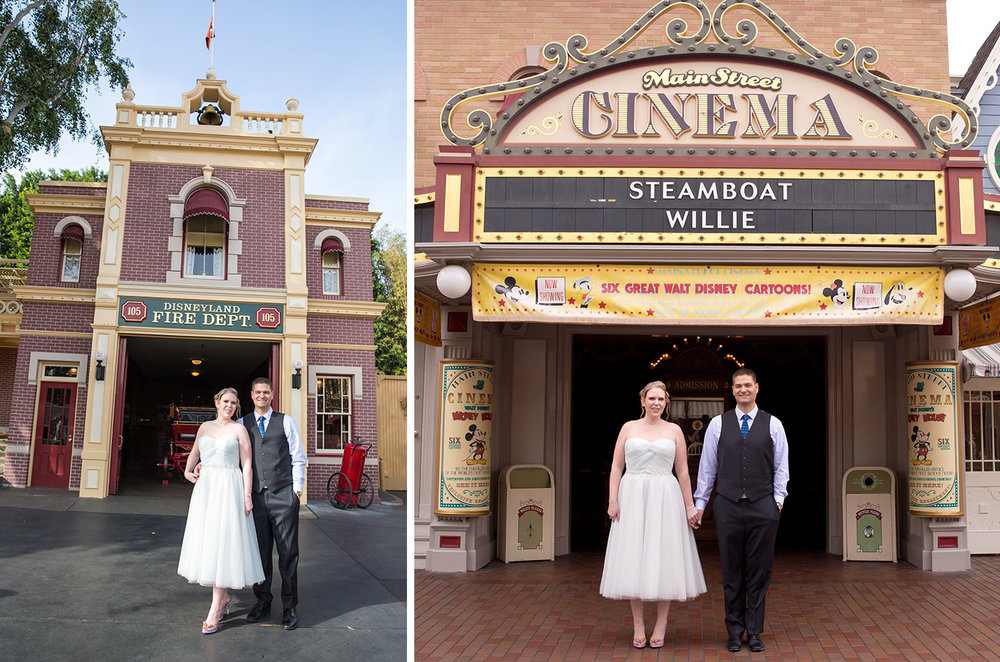 In front of the Fire Department (with Walt's apartment above!) and the Main Street Cinema.