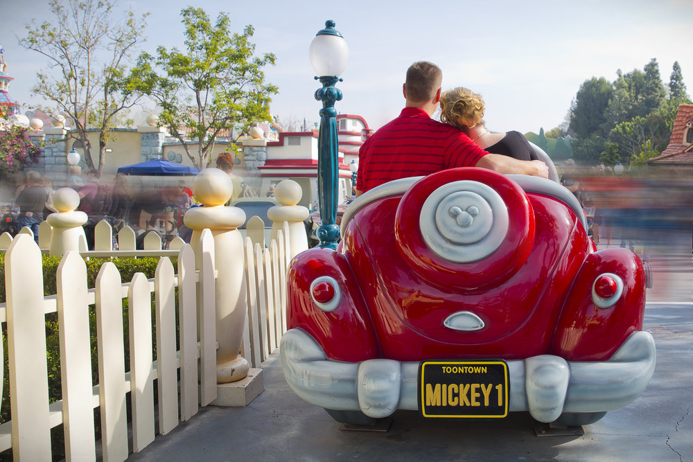 Another one of our favorite shots from the day was in Mickey's adorable car.