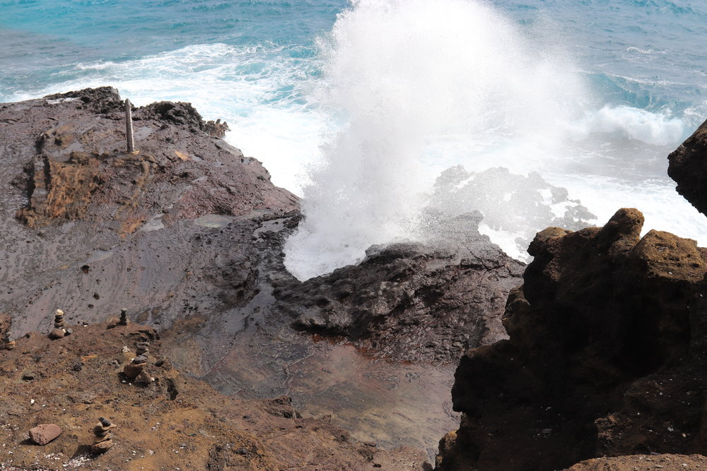 It is cool to stop and watch the Halona Blowhole for awhile.