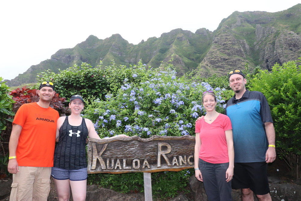 All checked in at Kualoa Ranch and ready to go. You'll note the different color wristbands denoting our different packages.