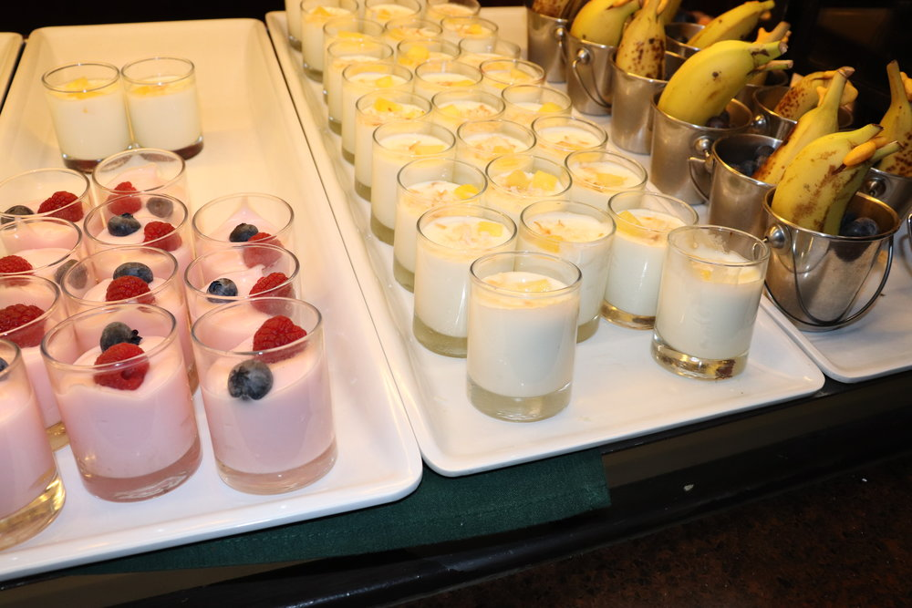 Various yogurt and fruit cups. The coconut yogurt was delicious!