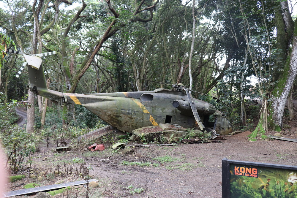 A crashed helicopter from Kong Skull Island.
