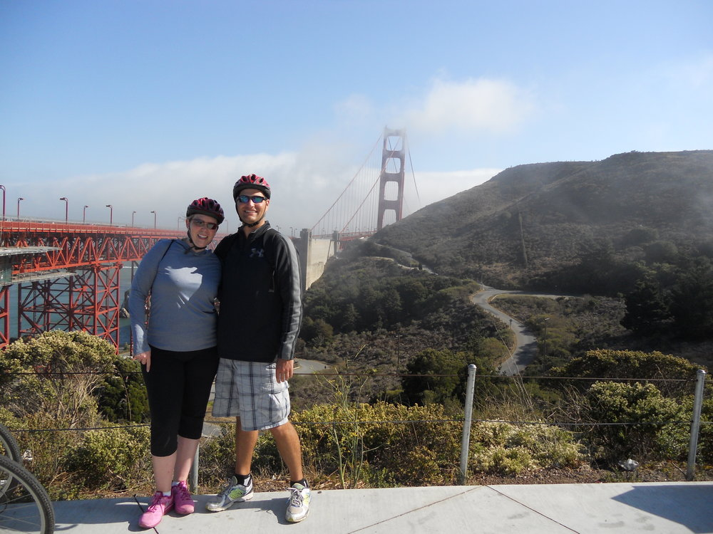 We conquered the bridge and have a picture to prove it! (Too bad the fog is covering the bridge in this shot though!)
