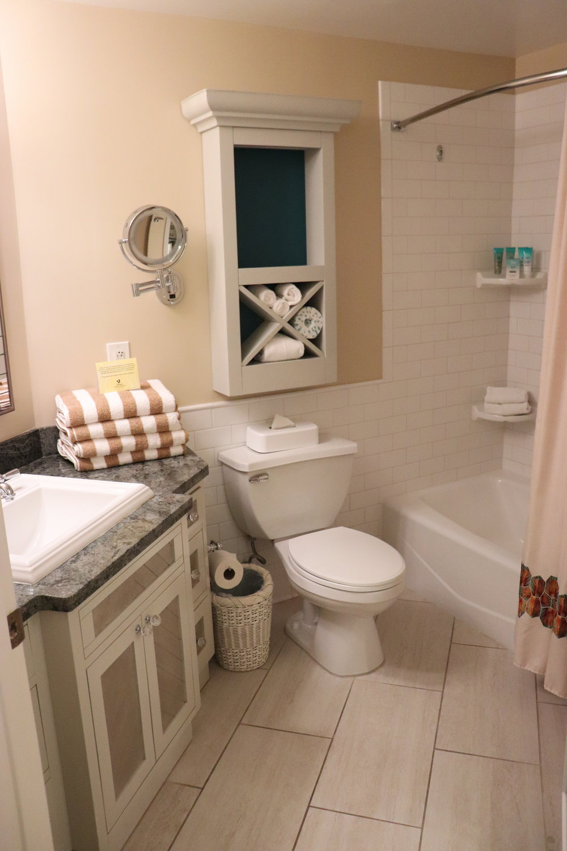 The bathroom with plenty of storage.