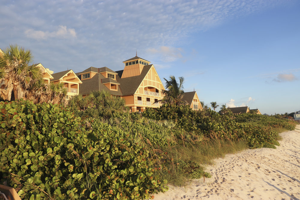 An early morning view of Disney's Vero Beach Resort from the beach.
