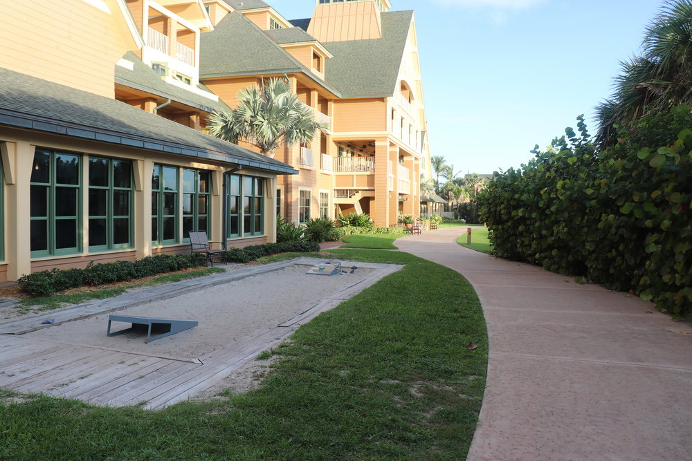 You will find some activity areas around the resort such as this corn hole pit.
