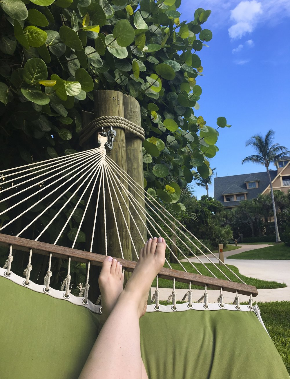 There are plenty of hammocks for relaxing.