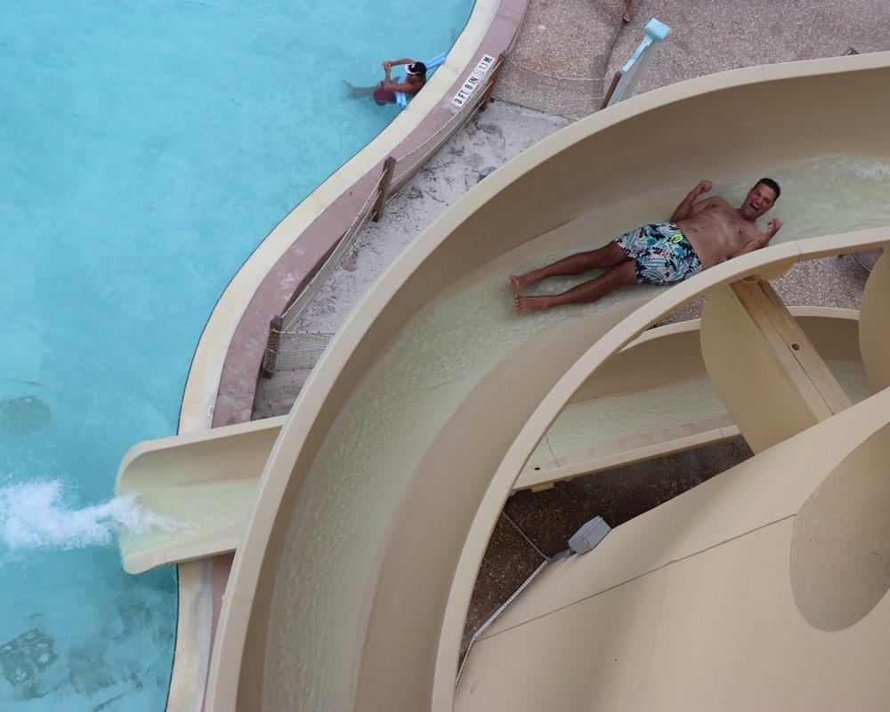 Andrew enjoying the water slide!