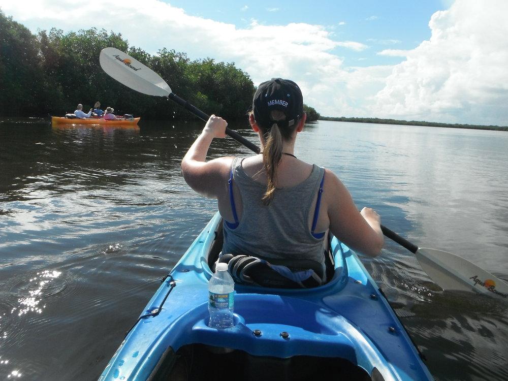 Julie paddling away.