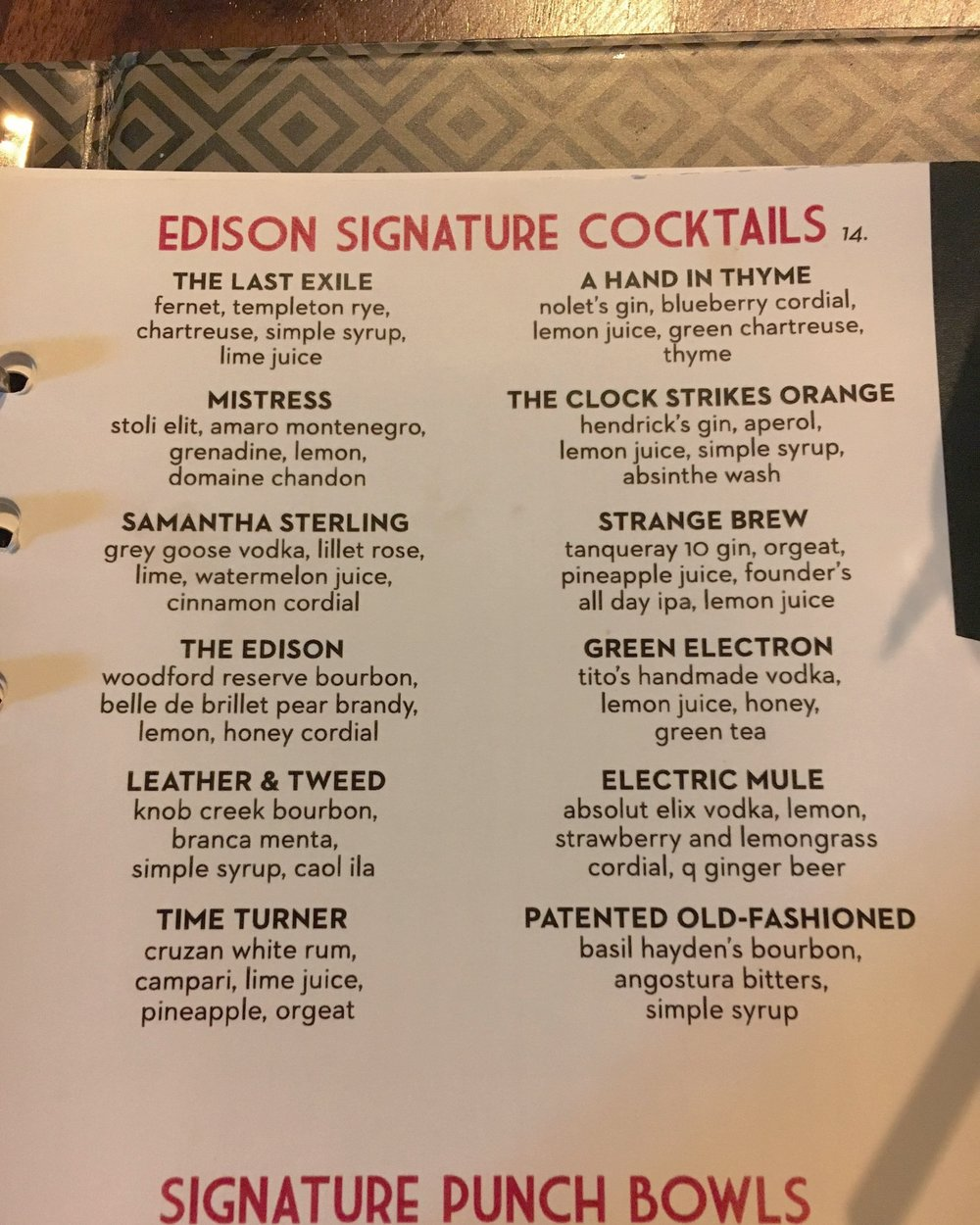 A list of signature cocktails.