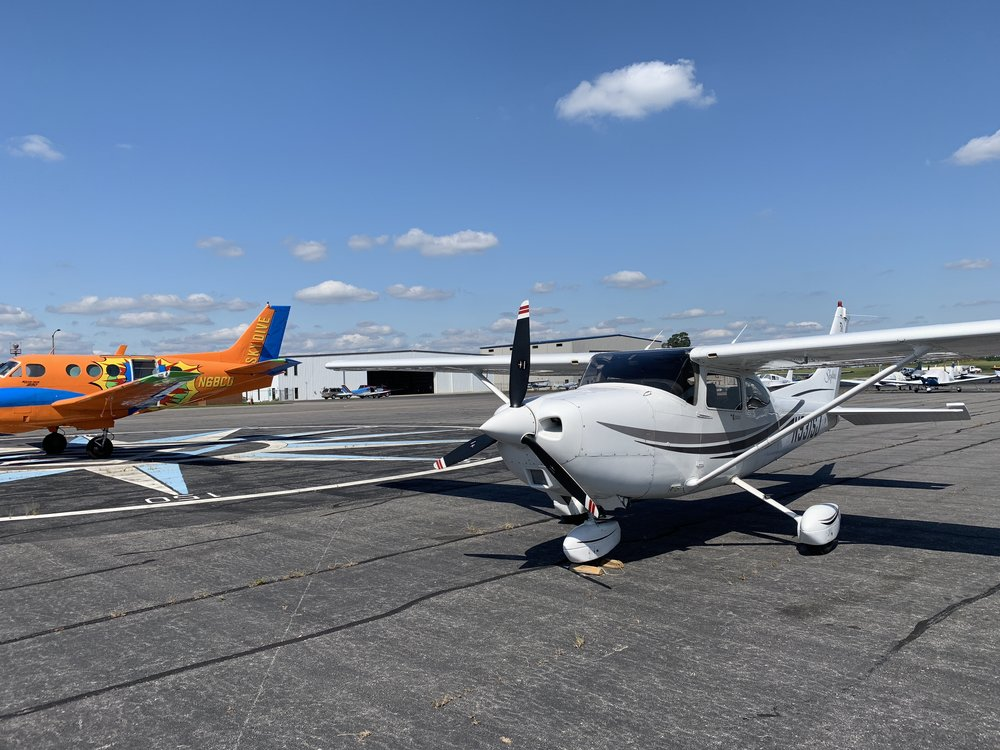 Our Cessna 182 looked a little boring next to this wild paint job!
