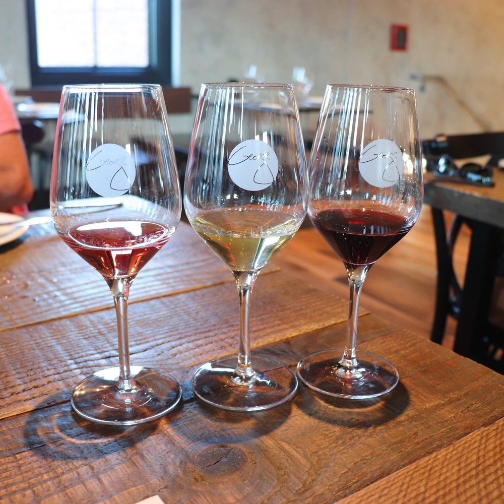 A wine flight of three 1 oz pours.