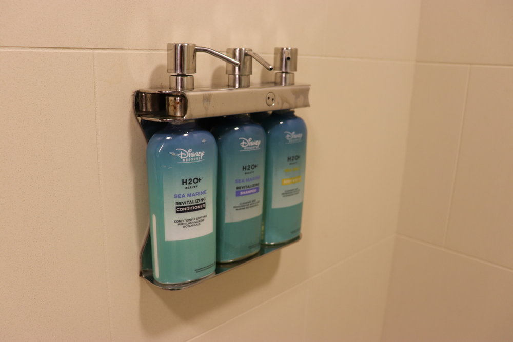 H2O dispensers in the shower.