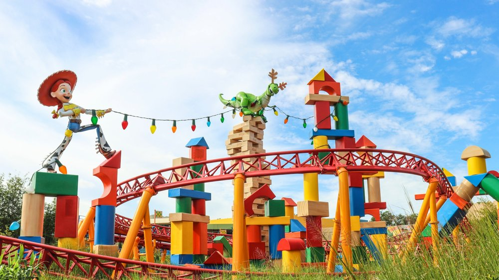 Jessie and Rex can be found on the Slinky Dog Dash ride with a Jenga tower and building blocks.