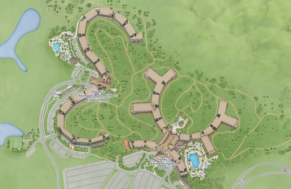 """You can see the two buildings that make up AKL. Our room was located in the very center of the top """"U"""" shape. (Map: Disney)"""