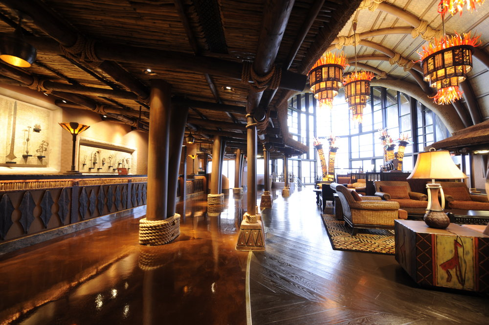 The check-in area on the left and the main lobby space at Kidani (Photo: Disney)