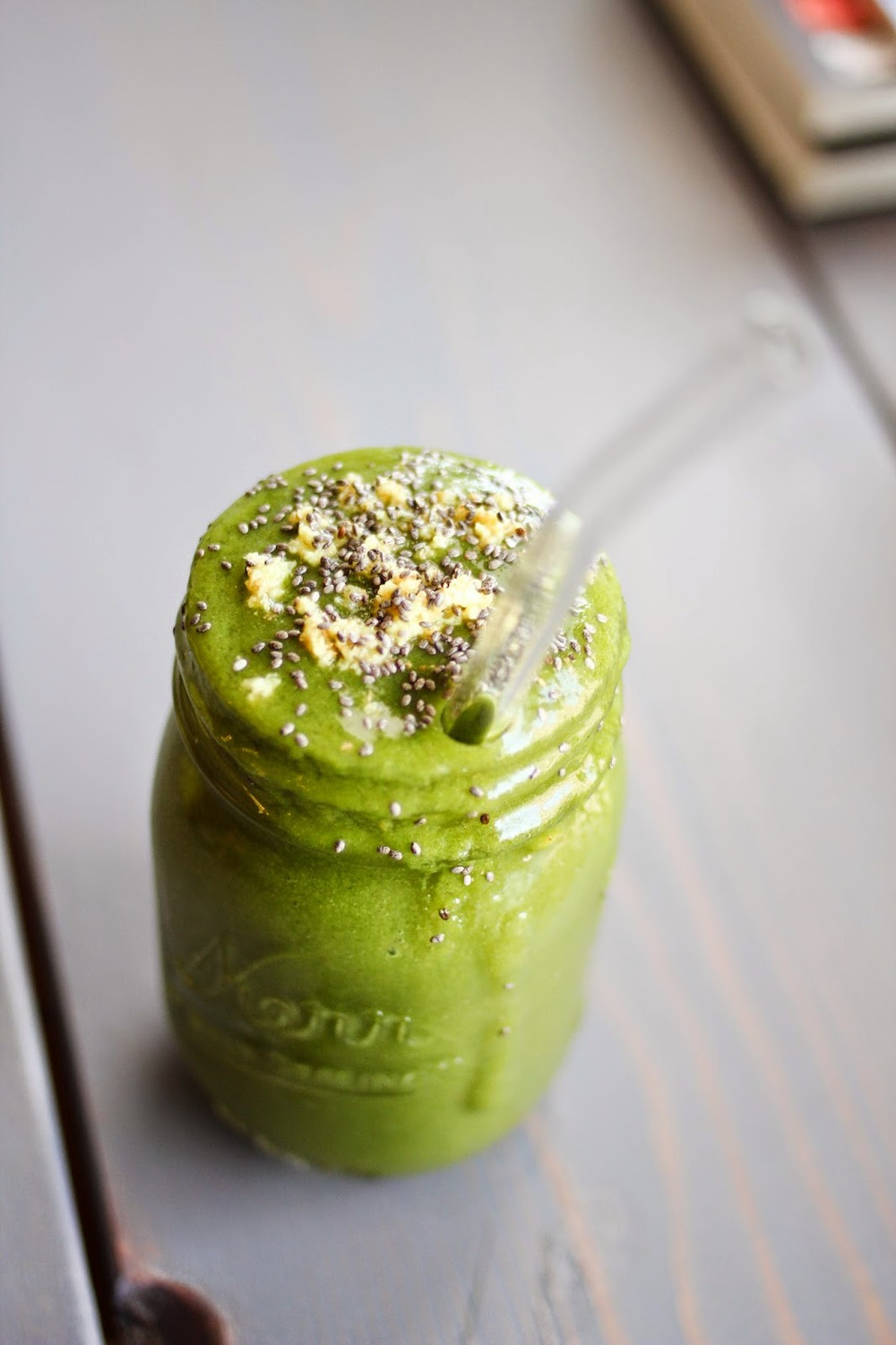 'kale-ada smoothie'   1 cup kale  grated ginger (to taste)  1/2 frozen banana  3/4 cup frozen mango  3/4 cup pineapple  16 oz coconut water  1 tbspn chia seeds